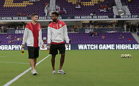 Orlando, FL - Friday Oct. 06, 2017: Christian Pulisic, Kellyn Acosta during a 2018 FIFA World Cup Qualifier between the men's national teams of the United States (USA) and Panama (PAN) at Orlando City Stadium.