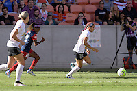 Houston, TX - Sunday Oct. 09, 2016: Crystal Dunn, Jaelene Hinkle during the National Women's Soccer League (NWSL) Championship match between the Washington Spirit and the Western New York Flash at BBVA Compass Stadium. The Western New York Flash win 3-2 on penalty kicks after playing to a 2-2 tie.