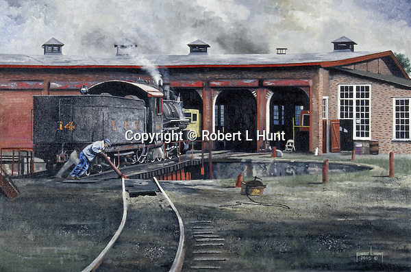 """Crew men shove the East Broad Top RR turntable by hand to put away their steam locomotive into the roundhouse at Orbisonia, PA. Oil on canvas, 18"""" x 27""""."""
