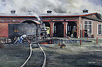 "Crew men shove the East Broad Top RR turntable by hand to put away their steam locomotive into the roundhouse at Orbisonia, PA. Oil on canvas, 18"" x 27""."