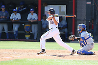 Nolan Bumstead (39) of the Cal State Northridge Matadors bats during a game against the UC Santa Barbara Gouchos at Matador Field on April 10, 2015 in Northridge, California. UC Santa Barbara defeated Cal State Northridge, 7-4. (Larry Goren/Four Seam Images)
