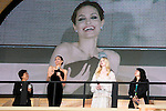 """Angelina Jolie, Elle Fanning Jun 23, 2014 : Tokyo, Japan : (L to R) The actress Angelina Jolie and Elle Fanning appear during the Japan premier for the film """"Maleficent"""" in Yebisu Garden Place on June 23, 2014. The movie will be released on July 5th. (Photo by Rodrigo Reyes Marin/AFLO)"""