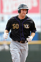 Louisville Bats third baseman Todd Frazier #50 runs the bases after hitting a home run during a game against the Rochester Red Wings at Frontier Field on May 12, 2011 in Rochester, New York.  Louisville defeated Rochester 5-2.  Photo By Mike Janes/Four Seam Images