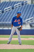 GCL Mets starting pitcher Jose Moreno (87) looks in for the sign during the second game of a doubleheader against the GCL Nationals on July 22, 2017 at The Ballpark of the Palm Beaches in Palm Beach, Florida.  GCL Mets defeated the GCL Nationals 4-1.  (Mike Janes/Four Seam Images)