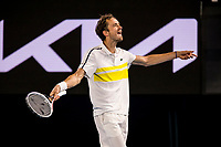 19th February 2021, Melbourne, Victoria, Australia; Daniil Medvedev of Russia celebrates after winning a game during the semifinals of the 2021 Australian Open on February 19 2021, at Melbourne Park in Melbourne, Australia.