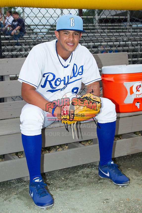 Enmanuel Camacho (9) of the Burlington Royals poses for a photo prior to the game against the Princeton Rays at Burlington Athletic Park on July 9, 2014 in Burlington, North Carolina.  The Rays defeated the Royals 3-0.  (Brian Westerholt/Four Seam Images)