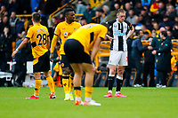 2nd October 2021;  Molineux Stadium, Wolverhampton,  West Midlands, England; EFL Cup football, Wolverhampton Wanderers versus Newcastle United; Paul Dummett of Newcastle United looks downbeat after the final whistle