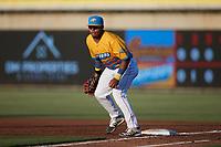 Rapidos de Kannapolis first baseman Harvin Mendoza (38) on defense against the Guerreros de Fayetteville at Atrium Health Ballpark on June 24, 2021 in Kannapolis, North Carolina. (Brian Westerholt/Four Seam Images)