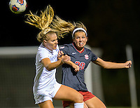 NWA Democrat-Gazette/JASON IVESTER<br /> Arkansas' Hannah Neece (right) heads the ball away from Memphis' Elizabeth Woerner on Friday, Nov. 11, 2016, during their NCAA tournament first round game at Razorback Field in Fayetteville.
