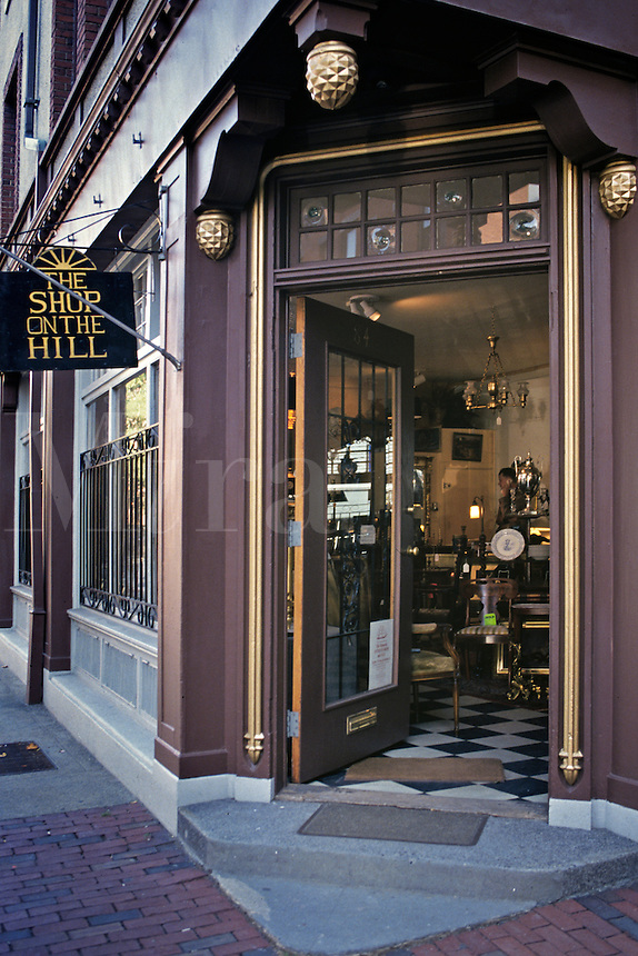 Massachusetts, Boston; Open Doorway Shows Beacon Hill Antique Shop Interio
