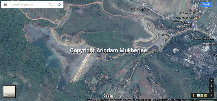 Sattelite image (google map) of one of the tailing pond at Jadugura which is allegdly contaminating the ground water and affecting local health.