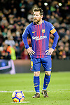 Lionel Messi of FC Barcelona kicks for missing a penalty during the La Liga 2017-18 match between FC Barcelona and Deportivo La Coruna at Camp Nou Stadium on 17 December 2017 in Barcelona, Spain. Photo by Vicens Gimenez / Power Sport Images