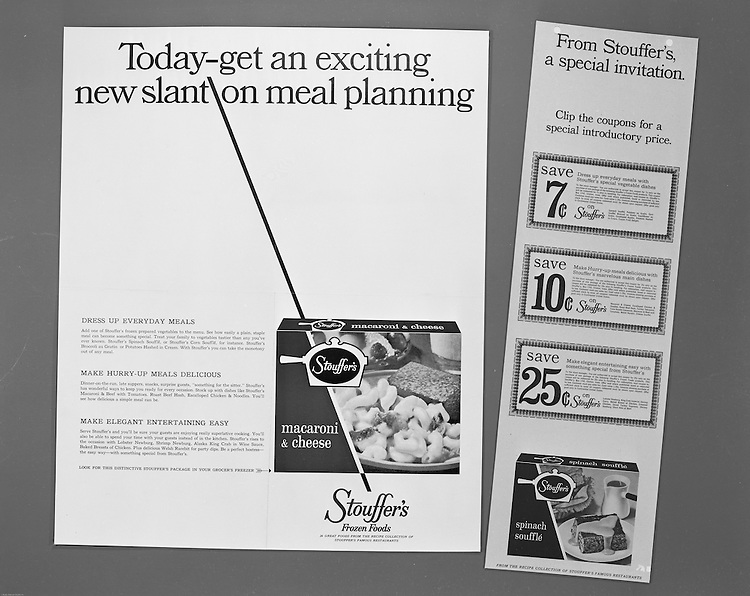 Client: Stouffer's Foods<br /> Ad Agency: Ketchum, MacLeod & Grove<br /> Contact: Mr. Yochum<br /> Product:  Stouffer's Frozen Foods<br /> Location:  Brady Stewart Studio at 211 Empire Building in Pittsburgh<br /> <br /> The Stouffer family's frozen food business began in the 1940s when customers started asking for frozen versions of the meals served in the restaurants. The Stouffers sold their company to Litton Industries in 1967, who in turn sold it to Nestlé in 1973. Nestle Foods has created a campus-like area at the headquarters in Solon, Ohio.