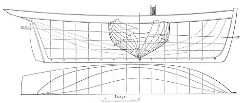 Lines of the 80-ton Corsair, designed and built for John Madden by Michae Ratsey of Cowes in 1832