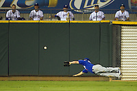 Las Vegas 51s outfielder Mike McCoy #1 makes a diving attempt to catch a ball during the Pacific Coast League baseball game against the Round Rock Express on August 7th, 2012 at the Dell Diamond in Round Rock, Texas. The Express defeated the 51s 5-4. (Andrew Woolley/Four Seam Images).