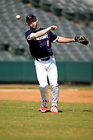 Third baseman Cody Schrier (8) throws to first base during the Baseball Factory All-Star Classic at Dr. Pepper Ballpark on October 4, 2020 in Frisco, Texas.  Cody Schrier (8), a resident of San Clemente, California, attends JSerra Catholic High School.  (Ken Murphy/Four Seam Images)