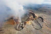 An aerial view of Pu'u O'o Vent, Kilauea Volcano, Hawai'i Volcanoes National Park, Big Island.