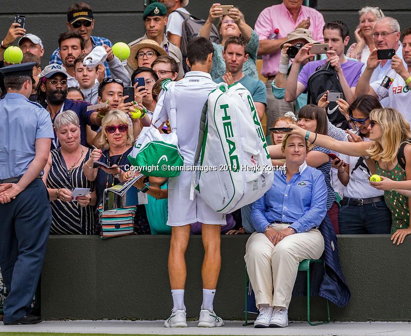 London, England, 8 July, 2019, Tennis,  Wimbledon, Men's singles: Novak Djokovic (SRB)<br /> Photo: Henk Koster/tennisimages.com