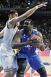 Real Madrid's Gustavo Ayon (l) and Maccabi Electra Tel Aviv's Sofoklis Schortsanitis during Euroleague match.March 27,2015. (ALTERPHOTOS/Acero)