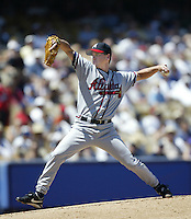 Tom Glavine of the Atlanta Braves pitches during a 2002 MLB season game against the Los Angeles Dodgers at Dodger Stadium, in Los Angeles, California. (Larry Goren/Four Seam Images)