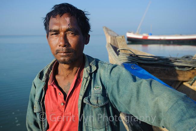 Rakhine fisherman in Magyichaung village. Rakhine State, Myanmar.