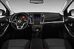 Stock photo of straight dashboard view of a 2017 Ssangyong Korando Quartz 5 Door SUV