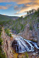 Gibbon Falls at sunrise. Yellowstone National Park, WY