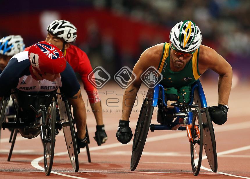 David Weir (GBR), Kurt Fearnley (AUS) before the Men's 1500m - T54 winner.<br /> Athletics, Olympic Stadium (Tuesday 4th Sept)<br /> Paralympics - Summer / London 2012<br /> London England 29 Aug - 9 Sept <br /> © Sport the library/Joseph Johnson