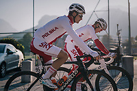 Michal Golas (POL/SKY) & Michal Kwiatkowski (POL/SKY) on their way to the start<br /> <br /> MEN ELITE ROAD RACE<br /> Kufstein to Innsbruck: 258.5 km<br /> <br /> UCI 2018 Road World Championships<br /> Innsbruck - Tirol / Austria