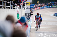 With exactly 1 lap to go, Nils Politt (DEU/Katusha-Alpecin) checks over his shoulder to try & counter Philippe GILBERT's (BEL/Deceuninck-Quick Step) attack<br /> <br /> 117th Paris-Roubaix 2019 (1.UWT)<br /> One day race from Compiègne to Roubaix (FRA/257km)<br /> <br /> ©kramon