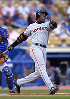 Barry Bonds of the San Francisco Giants during a 2001 season MLB game at Dodger Stadium in Los Angeles, California. (Larry Goren/Four Seam Images)