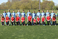 Piscataway, NJ, April 24, 2016.  The starting eleven from Sky Blue FC awaits player intorductions prior to their match with the  Washington Spirit .  The Washington Spirit defeated Sky Blue FC 2-1 during a National Women's Soccer League (NWSL) match at Yurcak Field.