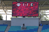 16th May 2020, Red Bull Arena, Leipzig, Germany; Bundesliga football, Leipzig versus FC Freiburg;   View of the scoreboard with the final score of 1-1