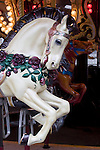 Merry-go-round, carved wooden horses, Seattle, Seattle Center, Fun Forest, amusement park, rides, closed for the season, Pacific Northwest, Washington State,