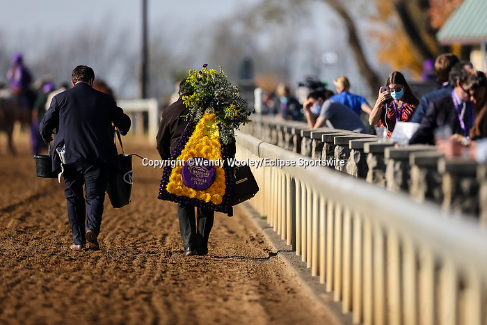 November 6, 2020: Fire at Will, ridden by Ricardo Santana, Jr., wins the Juvenile Turf Presented By Coolmore America on Breeders' Cup Championship Friday at Keeneland on November 6, 2020: in Lexington, Kentucky. Wendy Wooley/Breeders' Cup/Eclipse Sportswire/CSM