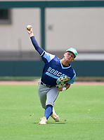 North Port Bobcats outfielder Ben Brown (18) during practice before the 42nd Annual FACA All-Star Baseball Classic on June 5, 2021 at Joker Marchant Stadium in Lakeland, Florida.  (Mike Janes/Four Seam Images)