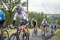 fresh 2020 World Champion Julian Alaphilippe (FRA/Deceuninck-QuickStep) in his very first race in the Rainbow Jersey up the Côte de Stockeu <br /> <br /> 106th Liège-Bastogne-Liège 2020 (1.UWT)<br /> 1 day race from Liège to Liège (257km)<br /> <br /> ©kramon