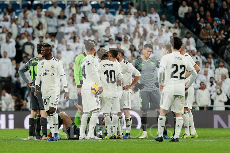 Real Madrid's and Real Sociedad's players during La Liga match between Real Madrid and Real Sociedad at Santiago Bernabeu Stadium in Madrid, Spain. January 06, 2019. (ALTERPHOTOS/A. Perez Meca)<br />  (ALTERPHOTOS/A. Perez Meca)
