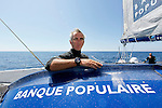 Onboard the Maxi Banque Populaire (FRA), the 140 foot trimaran skippered by Loick Peyron on delivery from Plymouth to Lorient after she set a new outright multihull race record for the Rolex Fastnet Race.