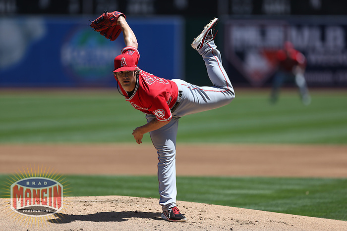 OAKLAND, CA - MAY 1:  C.J. Wilson #33 of the Los Angeles Angels pitches during the game against the Oakland Athletics at O.co Coliseum on May 1, 2013 in Oakland, California. Photo by Brad Mangin