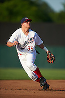 Auburn Doubledays third baseman Sheldon Neuse (38) during a game against the Williamsport Crosscutters on June 25, 2016 at Falcon Park in Auburn, New York.  Auburn defeated Williamsport 5-4.  (Mike Janes/Four Seam Images)