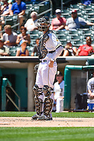 Jett Bandy (27) of the Salt Lake Bees during the game against the El Paso Chihuahuas in Pacific Coast League action at Smith's Ballpark on July 26, 2015 in Salt Lake City, Utah. El Paso defeated Salt Lake 6-3 in 10 innings. (Stephen Smith/Four Seam Images)