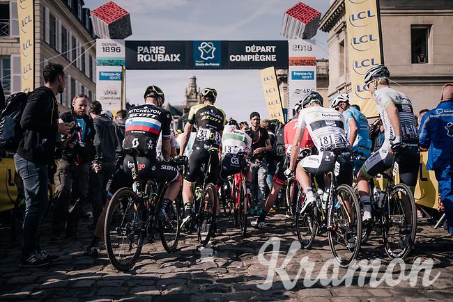 getting ready at the race start line<br /> <br /> 116th Paris-Roubaix (1.UWT)<br /> 1 Day Race. Compiègne - Roubaix (257km)