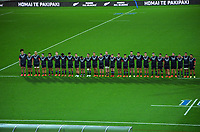 The Maori All Blacks line up for the national anthems during the international rugby match between Manu Samoa and the Maori All Blacks at Sky Stadium in Wellington, New Zealand on Saturday, 26 June 2021. Photo: Dave Lintott / lintottphoto.co.nz