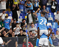 26th September 2021; Maradona Stadium, Naples, Italy; Serie A football, Napoli versus Cagliari :  Victor Osimhen of Napoli celebrates after scoring for  1 -0 - in 11th minute with Lorenzo Insigne of Napoli