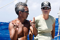 Ka'iulani Murphy learns navigation from Nainoa Thompson aboard Polynesian voyaging canoe, Hokule'a _.Voyage to Micronesia; .March 22, 2007