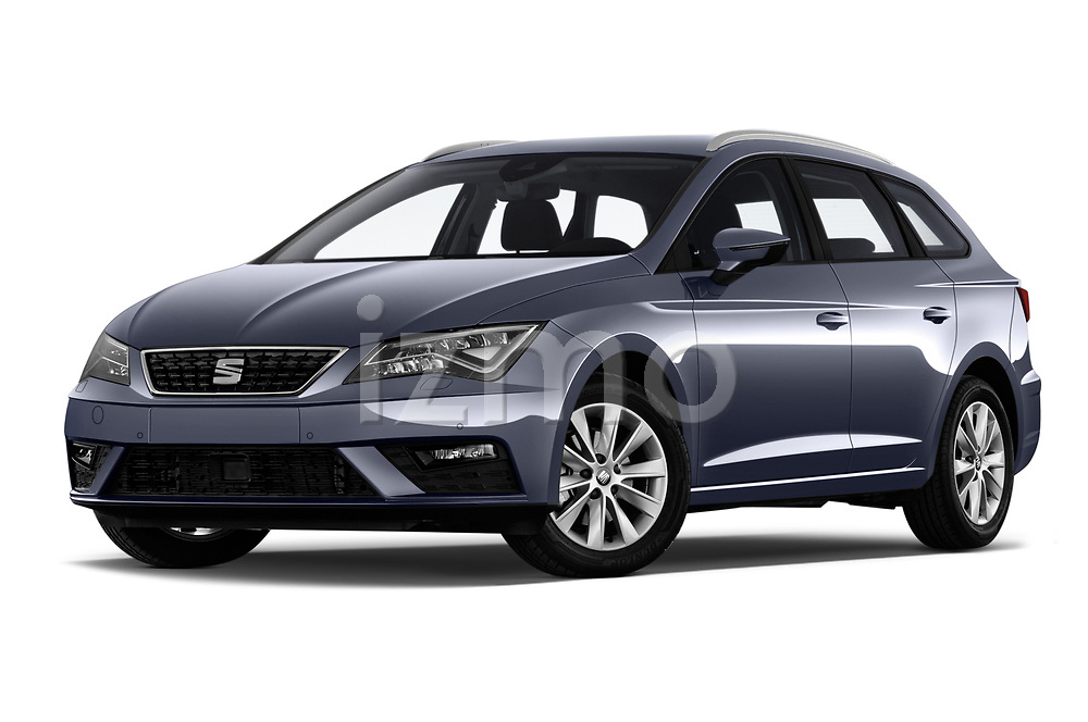 Stock pictures of low aggressive front three quarter view of a 2018 Seat Leon ST Style 5 Door Wagon