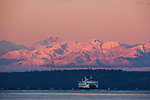 Washington State ferry, Puget Sound and Olympic Mountains, Washington.