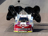 Feb 21, 2014; Chandler, AZ, USA; NHRA funny car driver Tim Wilkerson during qualifying for the Carquest Auto Parts Nationals at Wild Horse Pass Motorsports Park. Mandatory Credit: Mark J. Rebilas-USA TODAY Sports