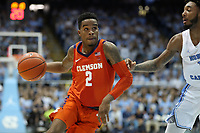 CHAPEL HILL, NC - JANUARY 11: Al-Amir Dawes #2 of Clemson University drives with the ball during a game between Clemson and North Carolina at Dean E. Smith Center on January 11, 2020 in Chapel Hill, North Carolina.